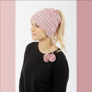 🐣 D&Y Pink Marled Ponytail Pom Pom Beanie Snood